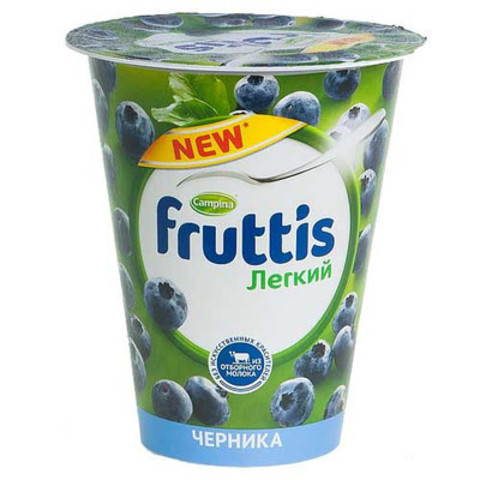 Йогурт fruttis 310г легкий черника 0.1%