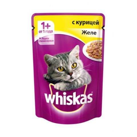 Корм д/кошек whiskas 85г желе с курицей